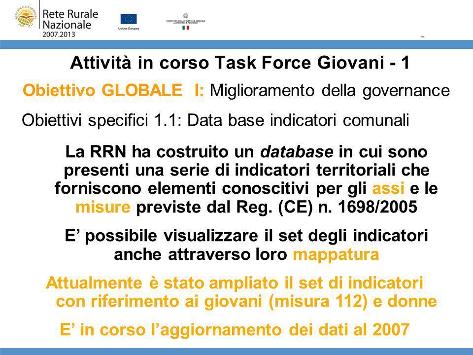 Attività in corso Task Force Giovani - 2 DB indicatori comunali: esempio Regione Veneto Indicatore: conduttori tra 15 e 39 anni/conduttori totali