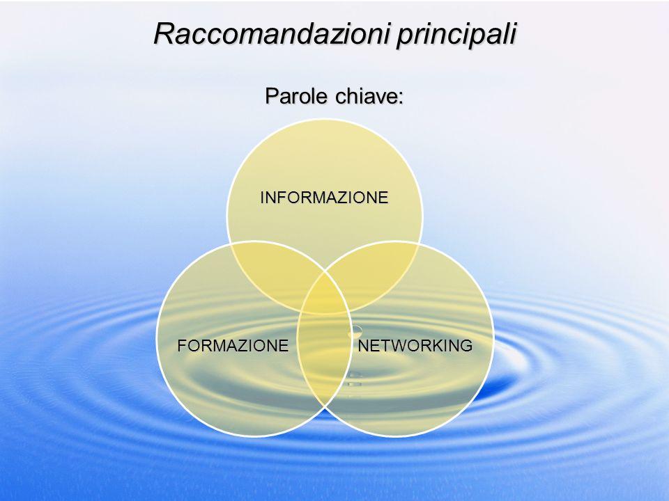 Raccomandazioni principali Parole chiave: INFORMAZIONE NETWORKINGFORMAZIONE