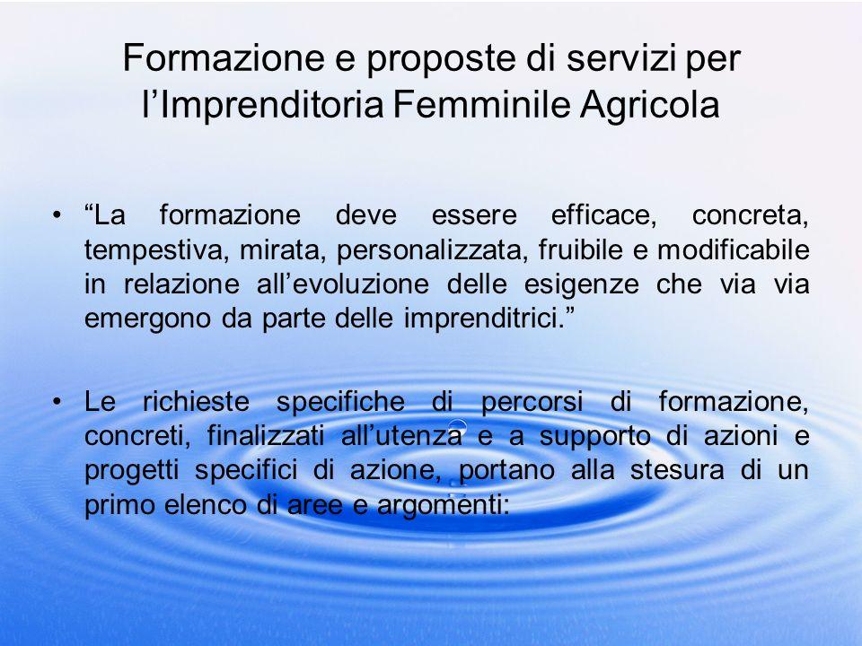 Formazione e proposte di servizi per lImprenditoria Femminile Agricola La formazione deve essere efficace, concreta, tempestiva, mirata, personalizzat