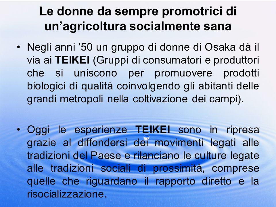 Le donne da sempre promotrici di unagricoltura socialmente sana Negli anni 50 un gruppo di donne di Osaka dà il via ai TEIKEI (Gruppi di consumatori e
