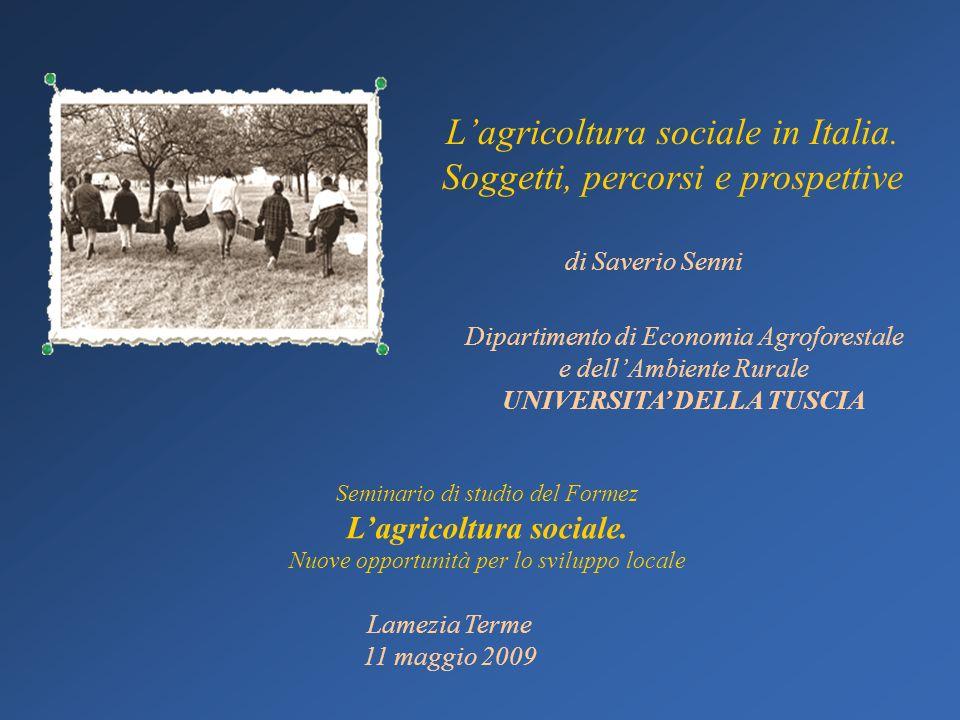 Dipartimento di Economia Agroforestale e dellAmbiente Rurale UNIVERSITA DELLA TUSCIA Lagricoltura sociale in Italia. Soggetti, percorsi e prospettive