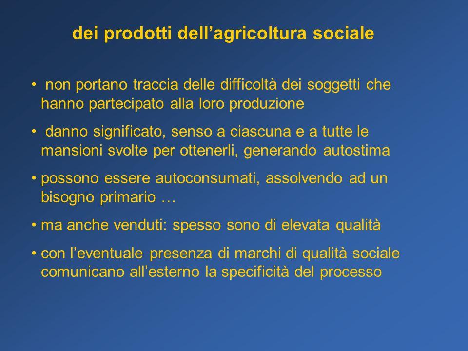 dei prodotti dellagricoltura sociale non portano traccia delle difficoltà dei soggetti che hanno partecipato alla loro produzione danno significato, s
