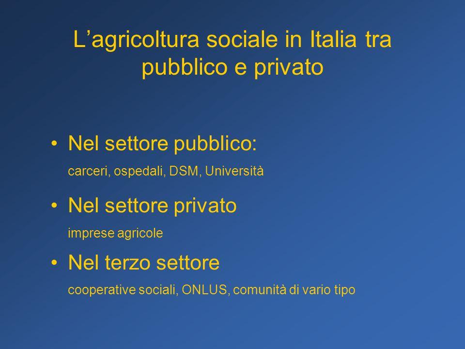 Lagricoltura sociale in Italia tra pubblico e privato Nel settore pubblico: carceri, ospedali, DSM, Università Nel settore privato imprese agricole Ne