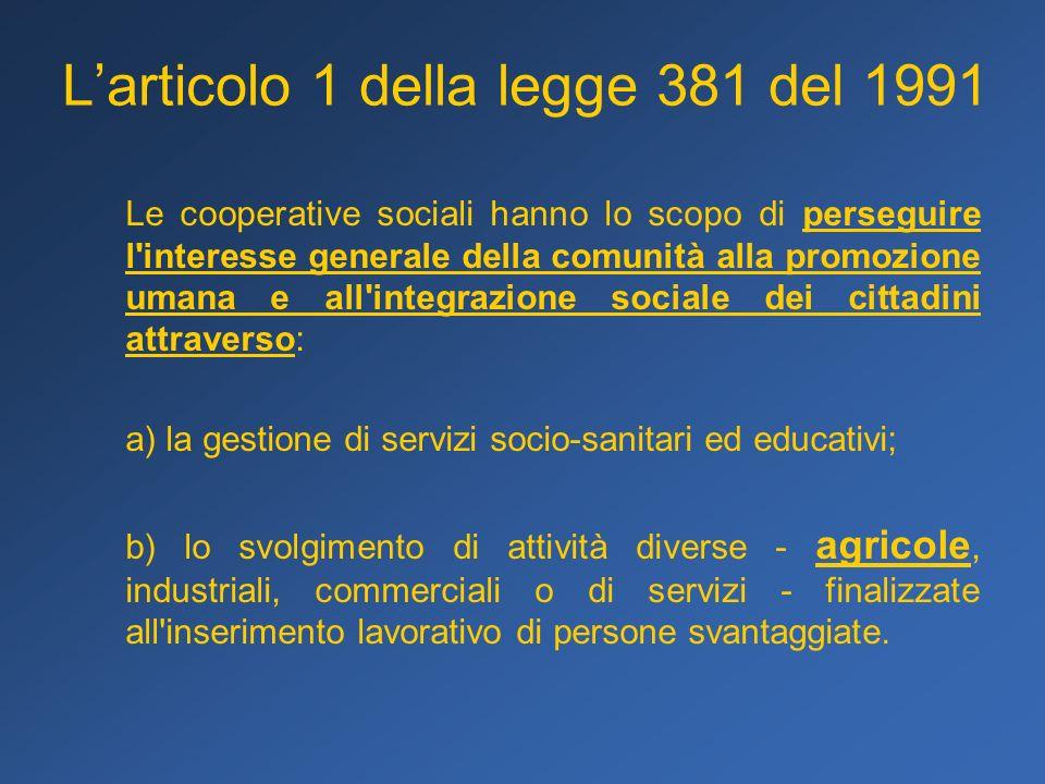 Larticolo 1 della legge 381 del 1991 Le cooperative sociali hanno lo scopo di perseguire l'interesse generale della comunità alla promozione umana e a