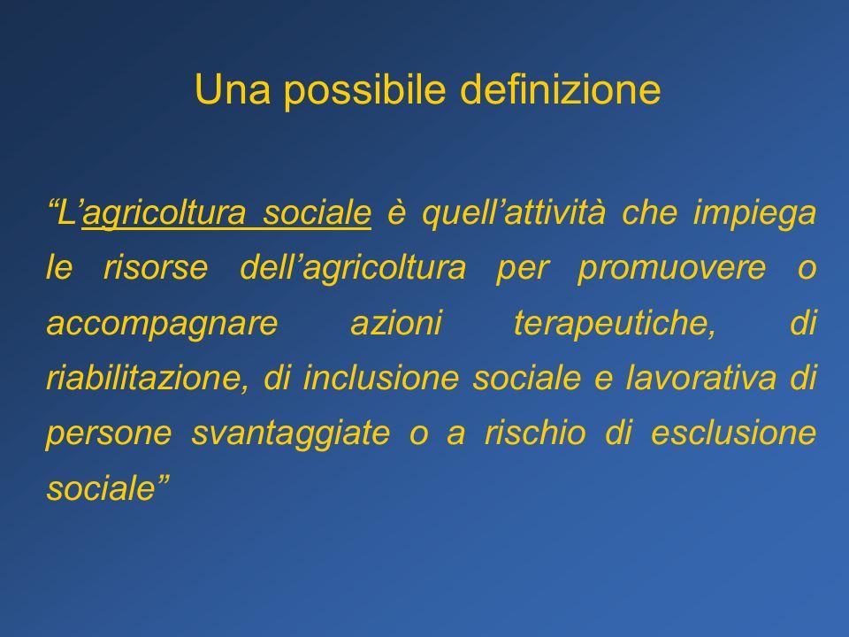 Una possibile definizione Lagricoltura sociale è quellattività che impiega le risorse dellagricoltura per promuovere o accompagnare azioni terapeutich