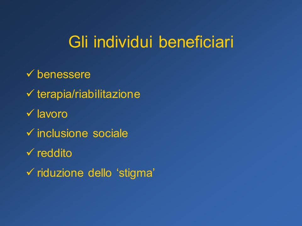 Gli individui beneficiari benessere terapia/riabilitazione lavoro inclusione sociale reddito riduzione dello stigma