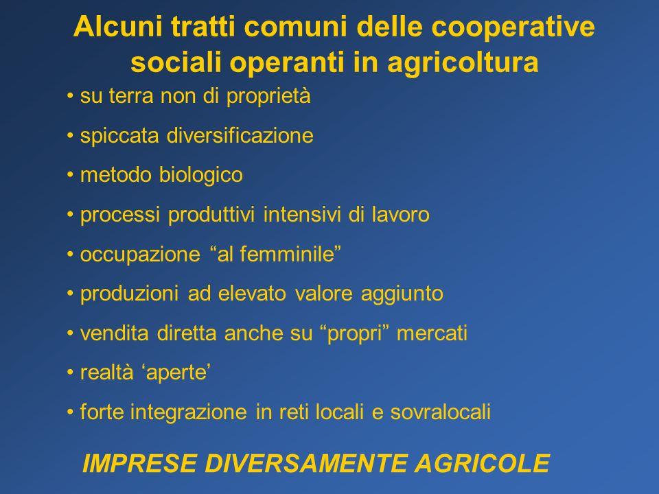 Alcuni tratti comuni delle cooperative sociali operanti in agricoltura su terra non di proprietà spiccata diversificazione metodo biologico processi p