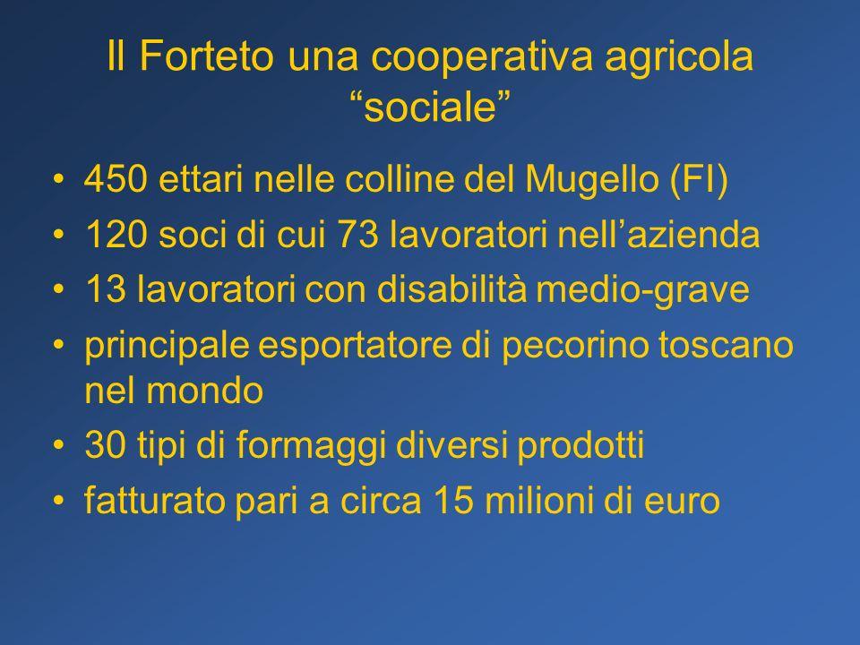 Il Forteto una cooperativa agricola sociale 450 ettari nelle colline del Mugello (FI) 120 soci di cui 73 lavoratori nellazienda 13 lavoratori con disa