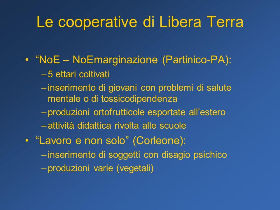 Le cooperative di Libera Terra NoE – NoEmarginazione (Partinico-PA): –5 ettari coltivati –inserimento di giovani con problemi di salute mentale o di t