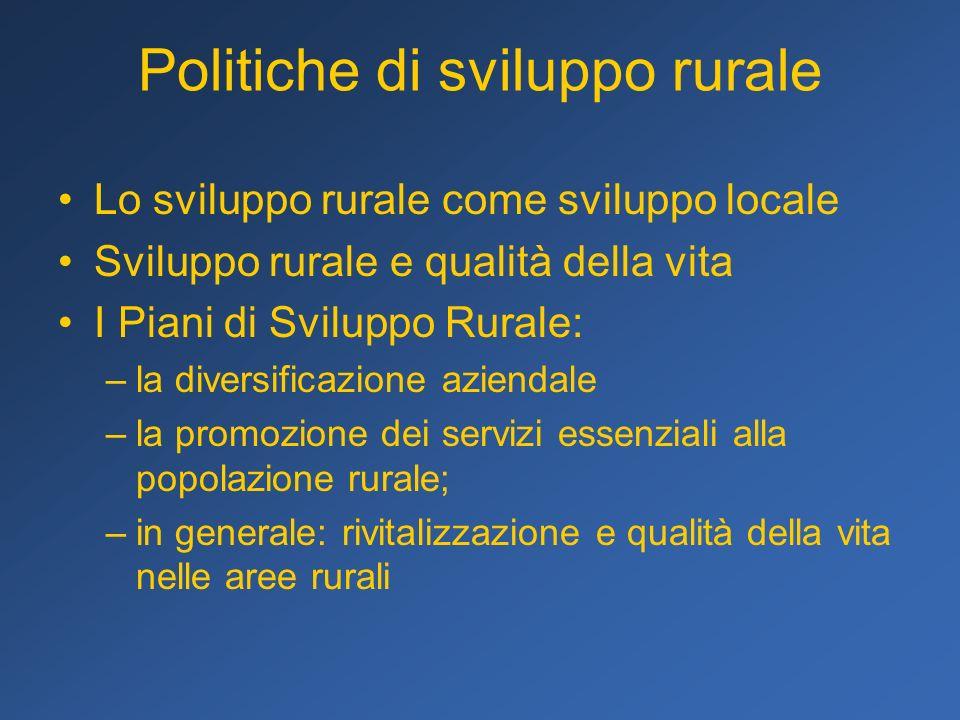 Politiche di sviluppo rurale Lo sviluppo rurale come sviluppo locale Sviluppo rurale e qualità della vita I Piani di Sviluppo Rurale: –la diversificaz