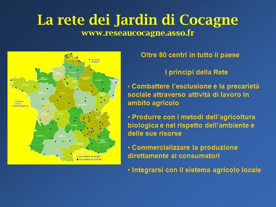 La rete dei Jardin di Cocagne www.reseaucocagne.asso.fr Oltre 80 centri in tutto il paese I principi della Rete Combattere lesclusione e la precarietà