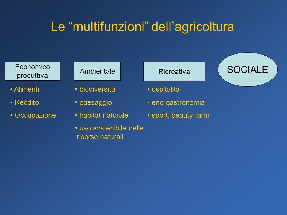 Le multifunzioni dellagricoltura Economico produttiva Alimenti Reddito Occupazione Ambientale Ricreativa ospitalità eno-gastronomia sport, beauty farm