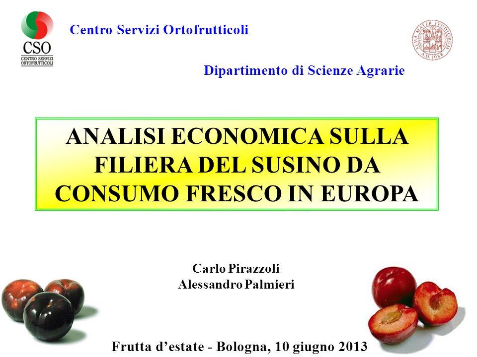Centro Servizi Ortofrutticoli ANALISI ECONOMICA SULLA FILIERA DEL SUSINO DA CONSUMO FRESCO IN EUROPA Frutta destate - Bologna, 10 giugno 2013 Dipartim