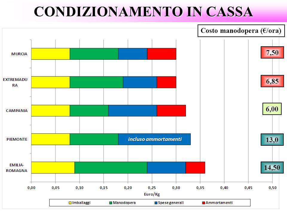 CONDIZIONAMENTO IN CASSA Costo manodopera (/ora) 13,0 6,00 6,85 14,50 7,50 incluso ammortamenti