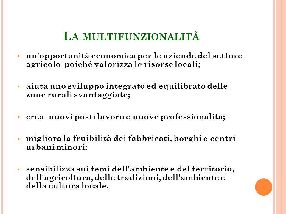L A MULTIFUNZIONALITÀ un'opportunità economica per le aziende del settore agricolo poiché valorizza le risorse locali; aiuta uno sviluppo integrato ed