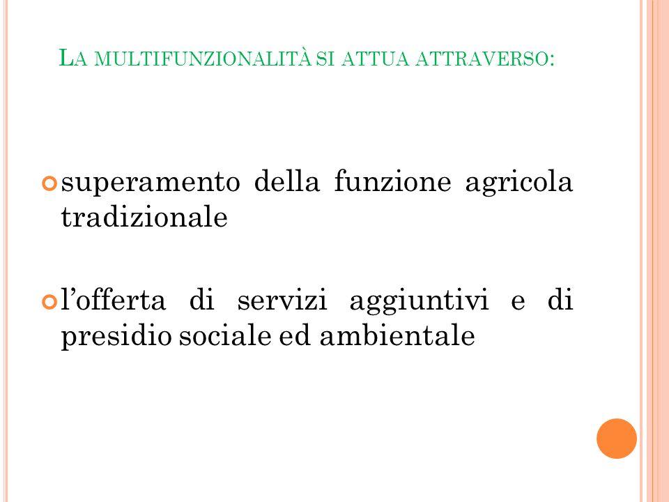 L A MULTIFUNZIONALITÀ SI ATTUA ATTRAVERSO : superamento della funzione agricola tradizionale lofferta di servizi aggiuntivi e di presidio sociale ed a