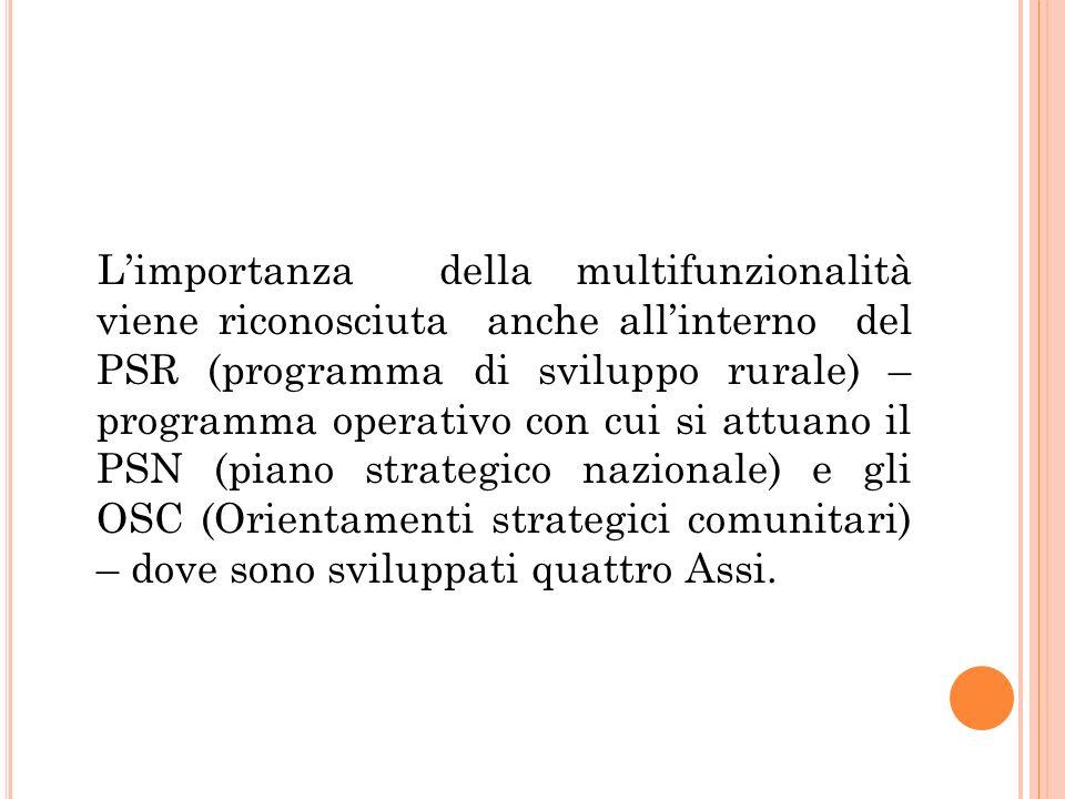 Limportanza della multifunzionalità viene riconosciuta anche allinterno del PSR (programma di sviluppo rurale) – programma operativo con cui si attuan