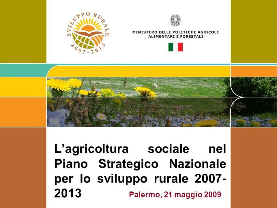 Lagricoltura sociale nel Piano Strategico Nazionale per lo sviluppo rurale 2007- 2013 Palermo, 21 maggio 2009