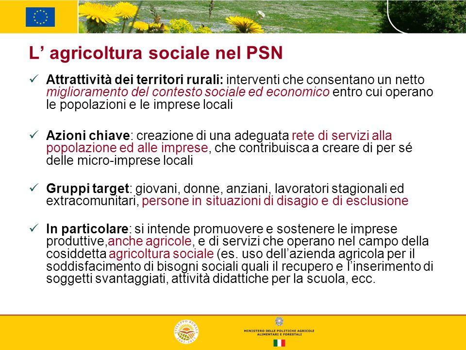 L agricoltura sociale nel PSN Attrattività dei territori rurali: interventi che consentano un netto miglioramento del contesto sociale ed economico en