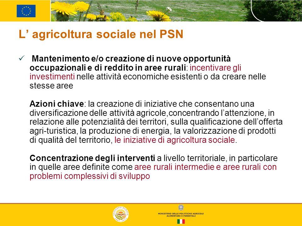 L agricoltura sociale nel PSN Mantenimento e/o creazione di nuove opportunità occupazionali e di reddito in aree rurali: incentivare gli investimenti