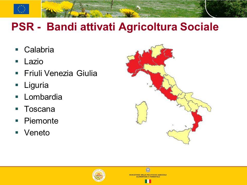 PSR - Bandi attivati Agricoltura Sociale Calabria Lazio Friuli Venezia Giulia Liguria Lombardia Toscana Piemonte Veneto