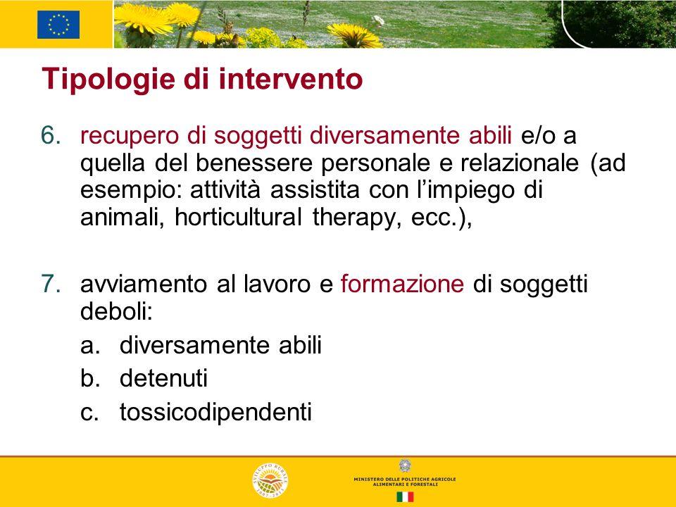 Tipologie di intervento recupero di soggetti diversamente abili e/o a quella del benessere personale e relazionale (ad esempio: attività assistita con