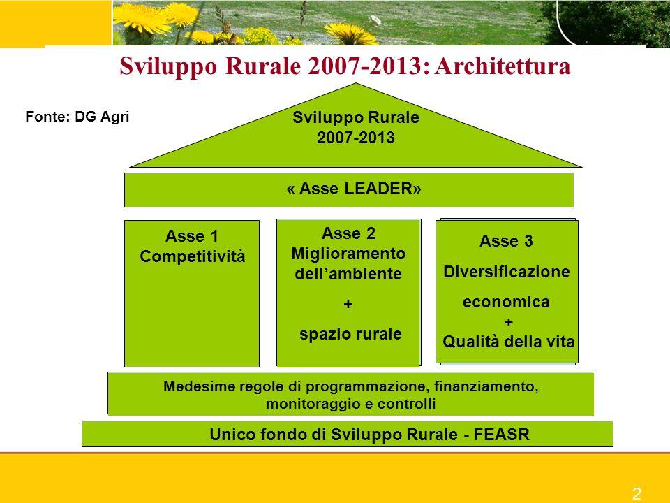 Sviluppo Rurale 2007-2013: Architettura Sviluppo Rurale 2007-2013 « Asse LEADER» Asse 1 Competitività Asse 2 Miglioramento dellambiente + spazio rural