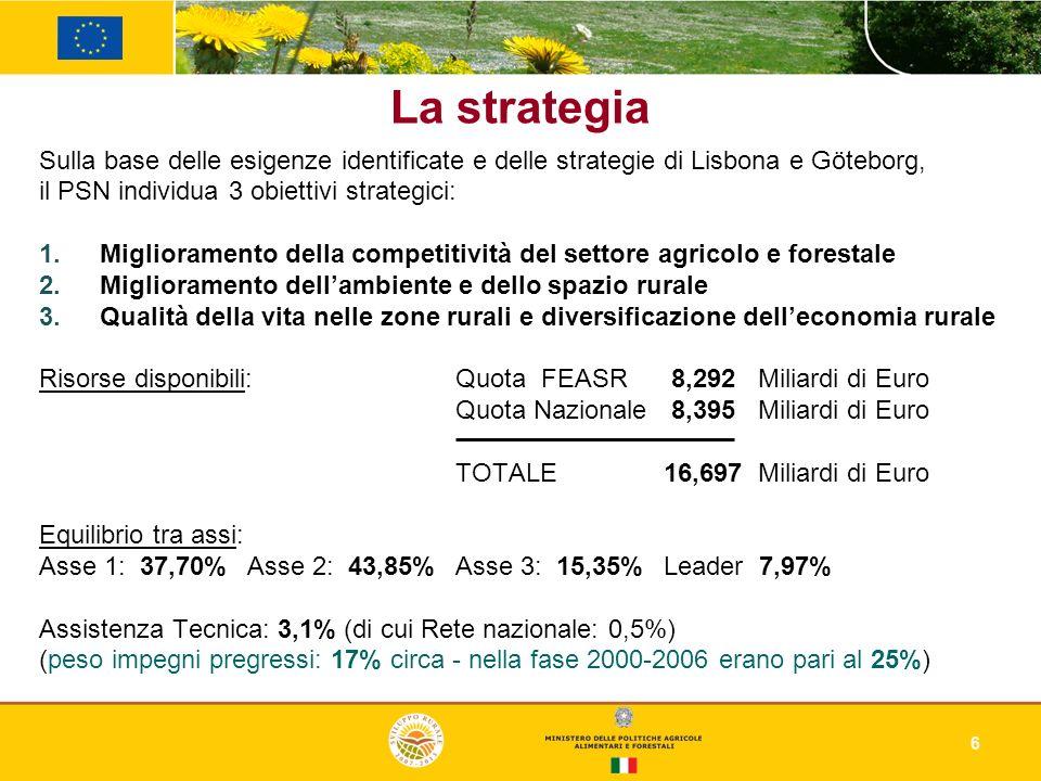 6 Sulla base delle esigenze identificate e delle strategie di Lisbona e Göteborg, il PSN individua 3 obiettivi strategici: Miglioramento della competi