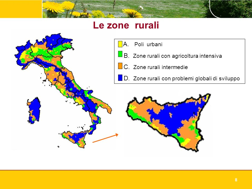 8 Le zone rurali A. Poli urbani B. Zone rurali con agricoltura intensiva C. Zone rurali intermedie D. Zone rurali con problemi globali di sviluppo