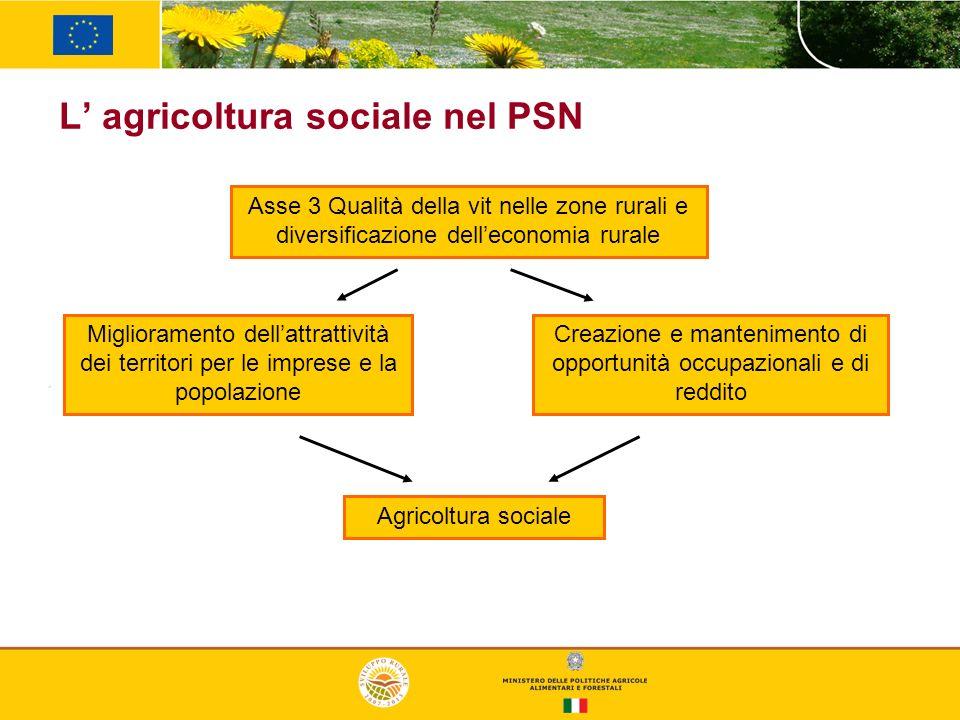 L agricoltura sociale nel PSN Asse 3 Qualità della vit nelle zone rurali e diversificazione delleconomia rurale Miglioramento dellattrattività dei ter