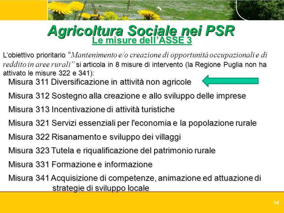 14 Agricoltura Sociale nei PSR Le misure dellASSE 3 Lobiettivo prioritario Lobiettivo prioritario Mantenimento e/o creazione di opportunità occupazion