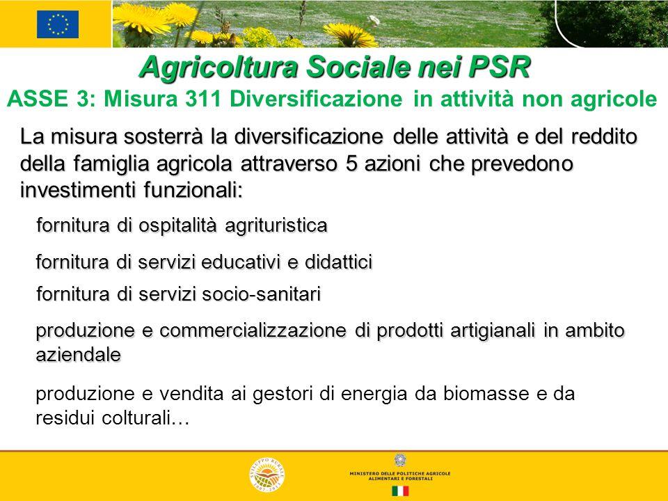 Agricoltura Sociale nei PSR ASSE 3: Misura 311 Diversificazione in attività non agricole La misura sosterrà la diversificazione delle attività e del r