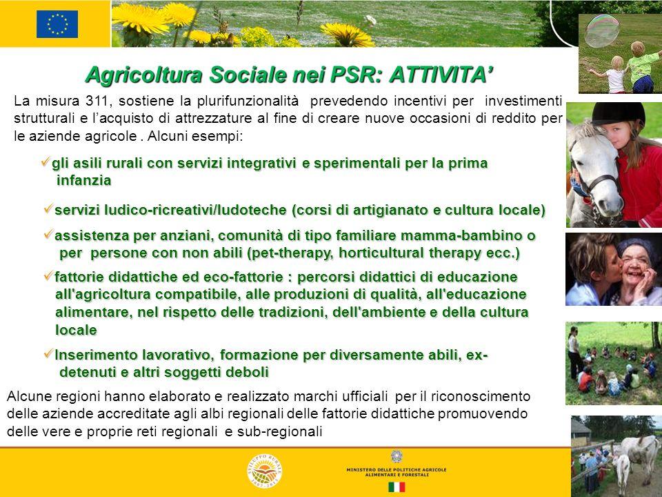 16 Agricoltura Sociale nei PSR: ATTIVITA gli asili rurali con servizi integrativi e sperimentali per la prima gli asili rurali con servizi integrativi