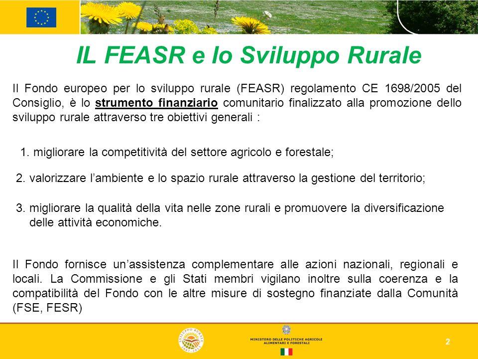 IL FEASR e lo Sviluppo Rurale 2 Il Fondo europeo per lo sviluppo rurale (FEASR) regolamento CE 1698/2005 del Consiglio, è lo strumento finanziario com