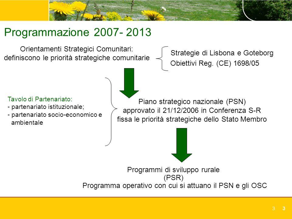 33 Programmazione 2007- 2013 Orientamenti Strategici Comunitari: definiscono le priorità strategiche comunitarie Piano strategico nazionale (PSN) appr