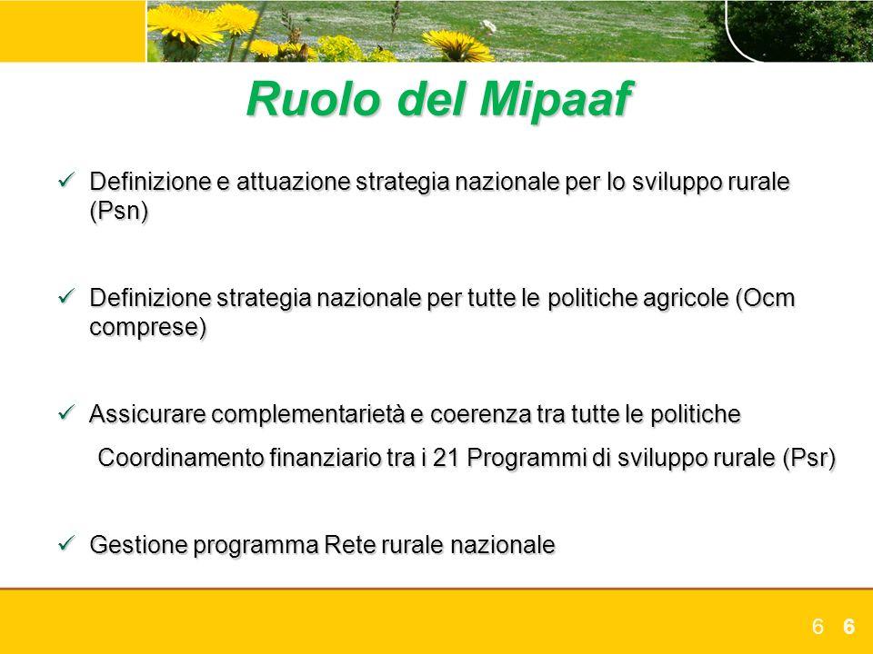 66 Ruolo del Mipaaf Definizione e attuazione strategia nazionale per lo sviluppo rurale (Psn) Definizione e attuazione strategia nazionale per lo svil