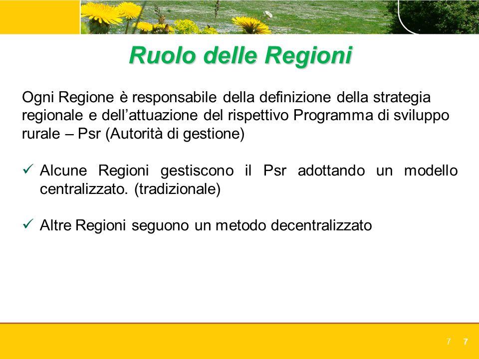 77 Ruolo delle Regioni Ogni Regione è responsabile della definizione della strategia regionale e dellattuazione del rispettivo Programma di sviluppo r