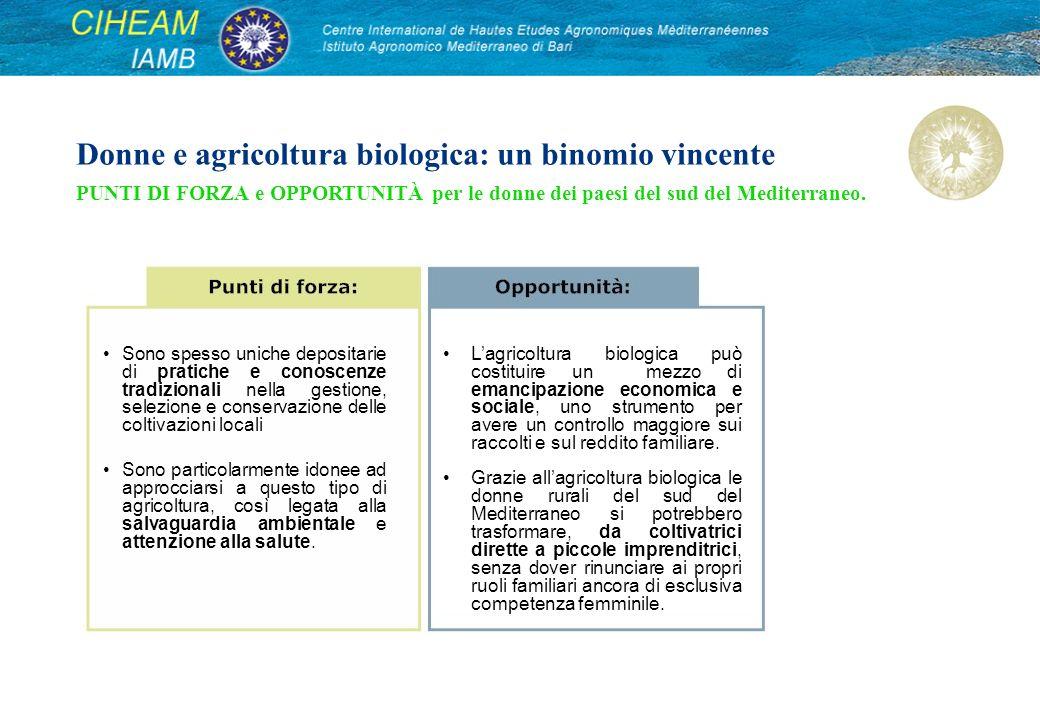 Donne e agricoltura biologica: un binomio vincente PUNTI DI FORZA e OPPORTUNITÀ per le donne dei paesi del sud del Mediterraneo.