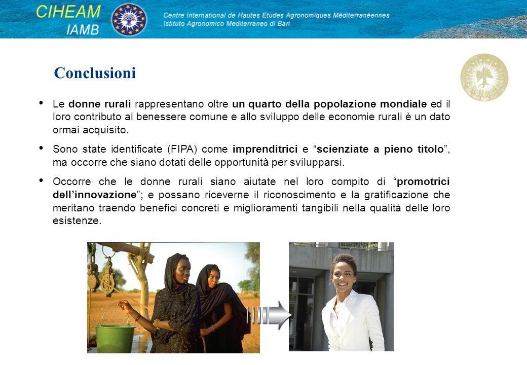 Conclusioni Le donne rurali rappresentano oltre un quarto della popolazione mondiale ed il loro contributo al benessere comune e allo sviluppo delle e