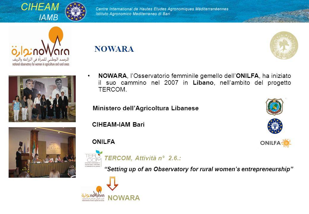 NOWARA, lOsservatorio femminile gemello dellONILFA, ha iniziato il suo cammino nel 2007 in Libano, nellambito del progetto TERCOM. NOWARA CIHEAM-IAM B
