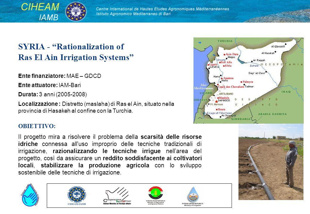 SYRIA - Rationalization of Ras El Ain Irrigation Systems Il progetto mira a risolvere il problema della scarsità delle risorse idriche connessa all'us