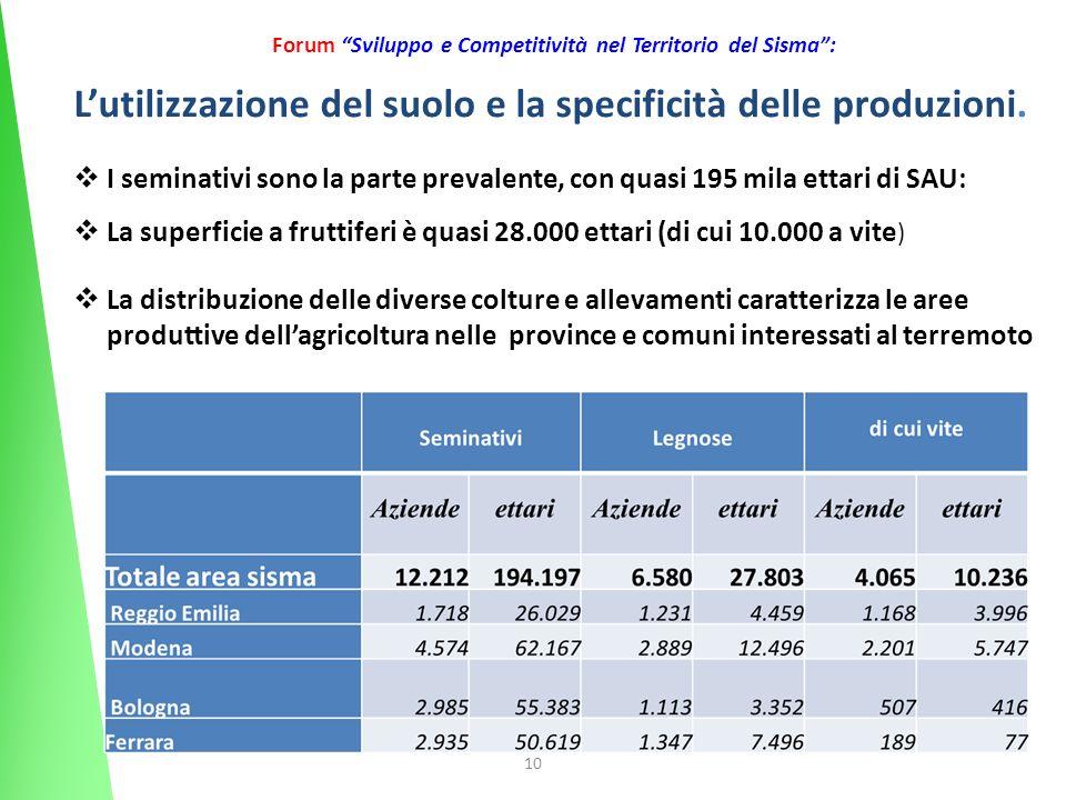 10 Forum Sviluppo e Competitività nel Territorio del Sisma: Lutilizzazione del suolo e la specificità delle produzioni. I seminativi sono la parte pre