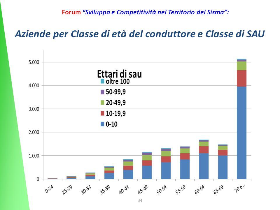 34 Forum Sviluppo e Competitività nel Territorio del Sisma: Aziende per Classe di età del conduttore e Classe di SAU