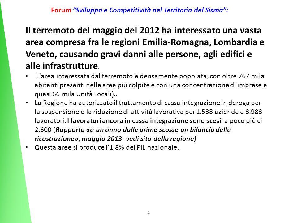 4 Forum Sviluppo e Competitività nel Territorio del Sisma: Il terremoto del maggio del 2012 ha interessato una vasta area compresa fra le regioni Emil