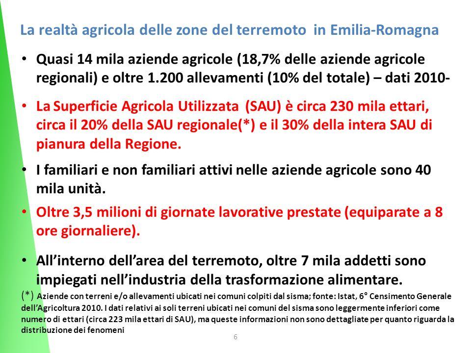 6 Quasi 14 mila aziende agricole (18,7% delle aziende agricole regionali) e oltre 1.200 allevamenti (10% del totale) – dati 2010- La Superficie Agricola Utilizzata (SAU) è circa 230 mila ettari, circa il 20% della SAU regionale(*) e il 30% della intera SAU di pianura della Regione.
