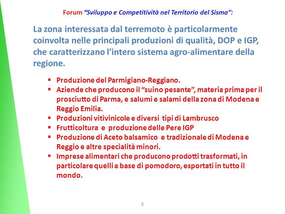 8 Forum Sviluppo e Competitività nel Territorio del Sisma: La zona interessata dal terremoto è particolarmente coinvolta nelle principali produzioni d