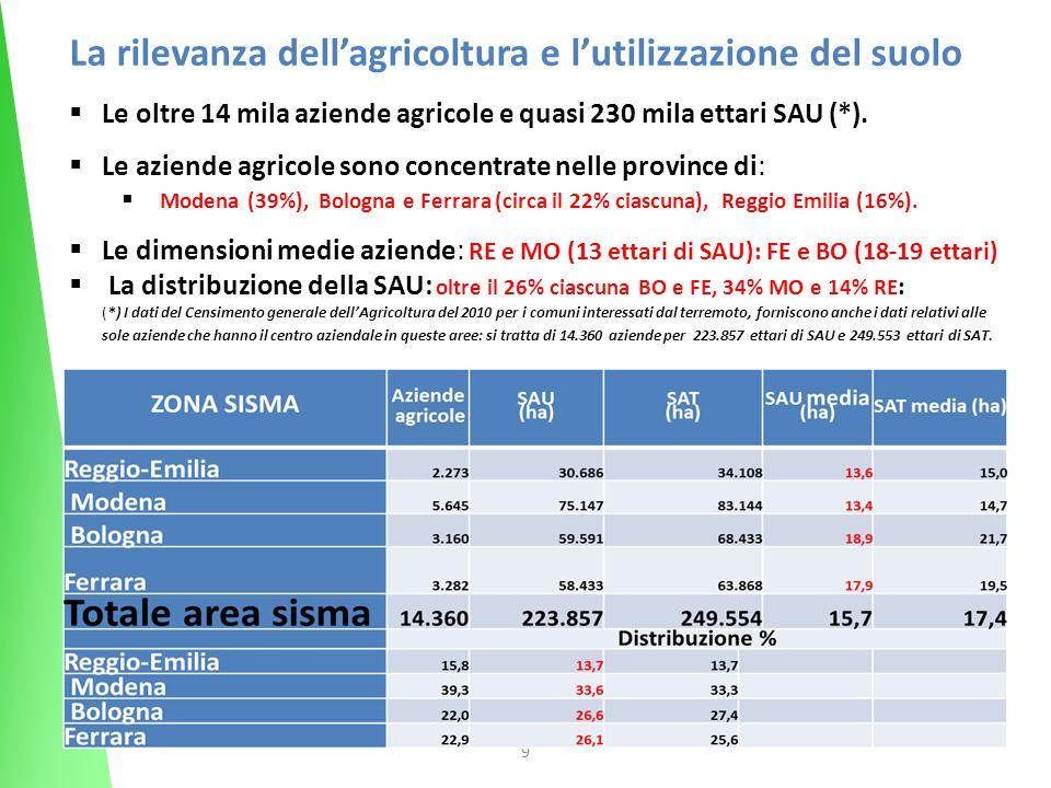 9 La rilevanza dellagricoltura e lutilizzazione del suolo Le oltre 14 mila aziende agricole e quasi 230 mila ettari SAU (*). Le aziende agricole sono