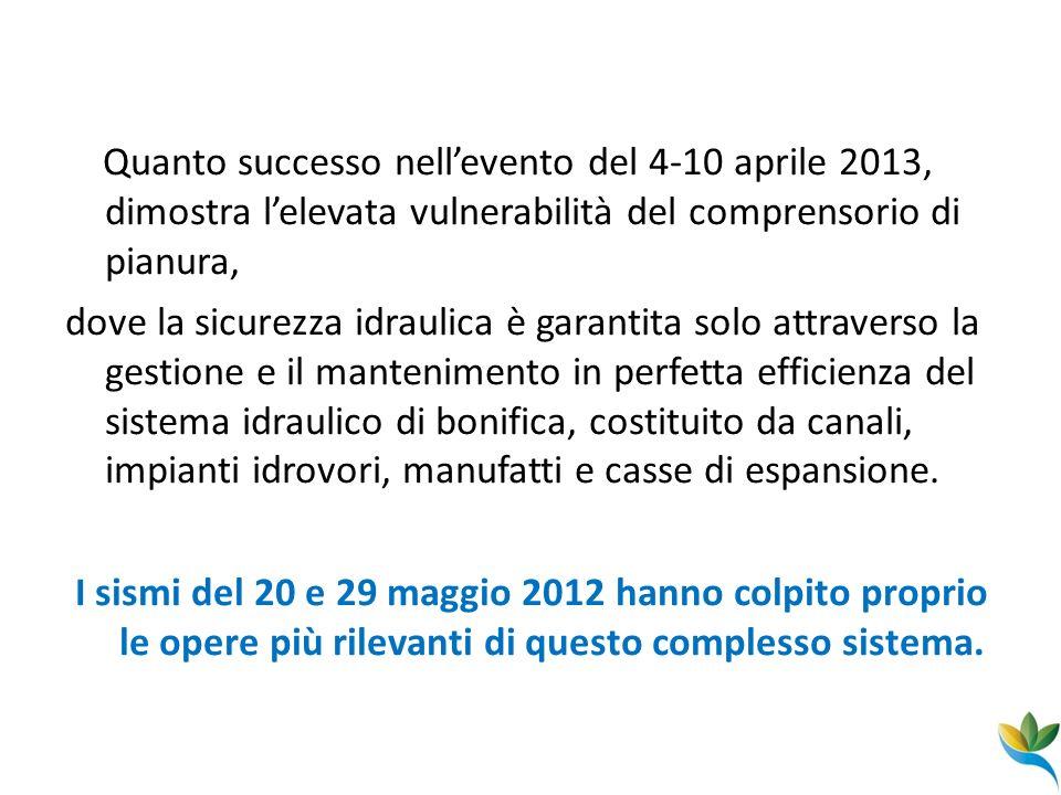 Quanto successo nellevento del 4-10 aprile 2013, dimostra lelevata vulnerabilità del comprensorio di pianura, dove la sicurezza idraulica è garantita
