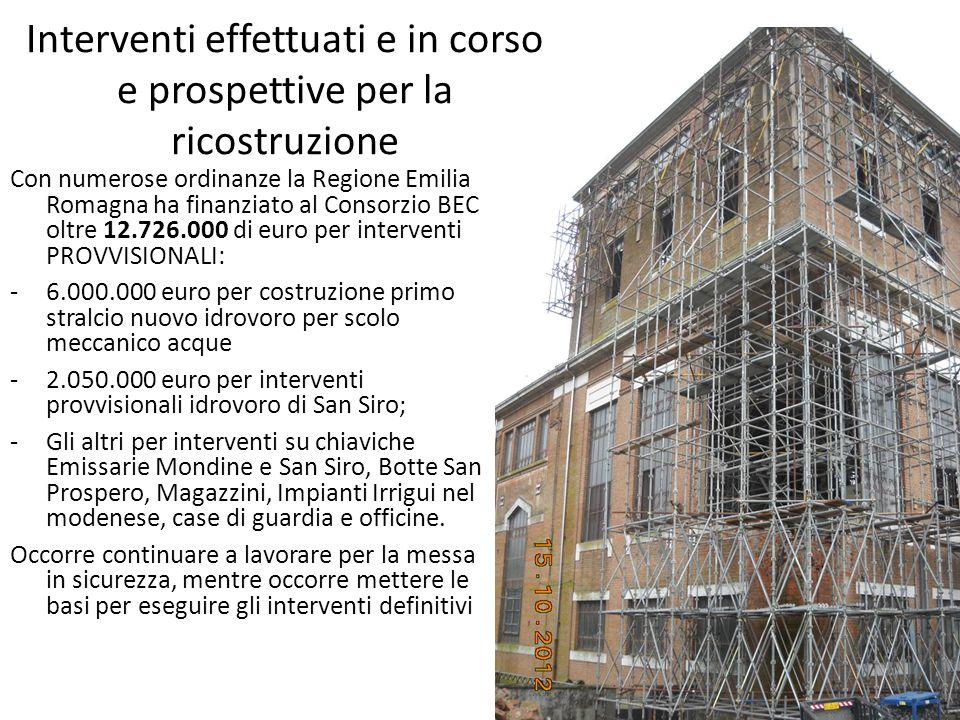 Interventi effettuati e in corso e prospettive per la ricostruzione Con numerose ordinanze la Regione Emilia Romagna ha finanziato al Consorzio BEC ol