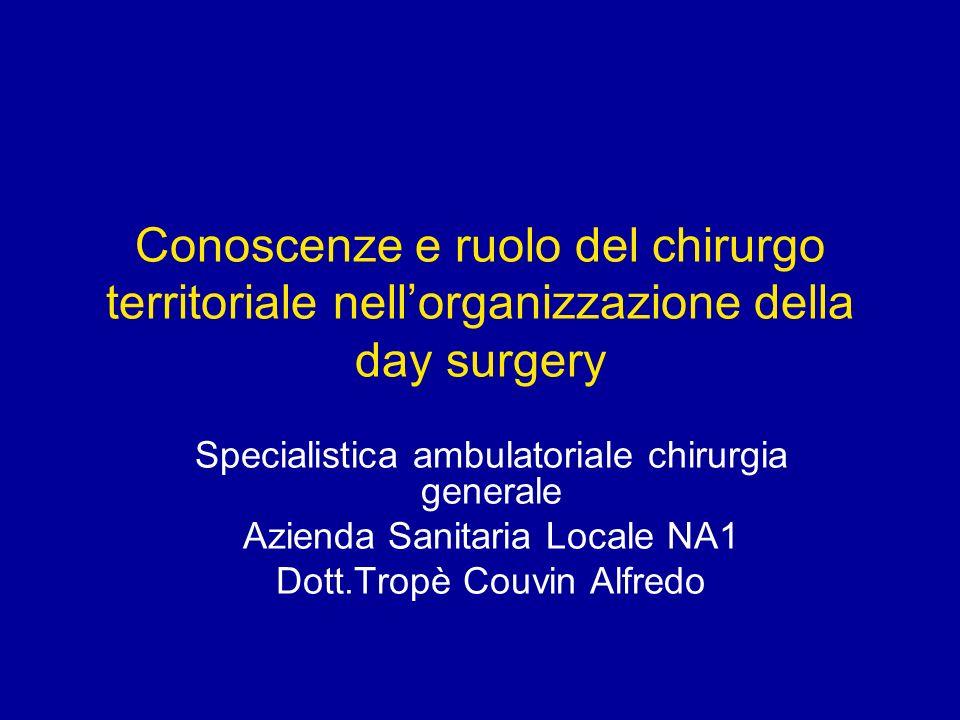 Conoscenze e ruolo del chirurgo territoriale nellorganizzazione della day surgery Specialistica ambulatoriale chirurgia generale Azienda Sanitaria Loc